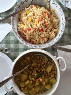 Chick Peas and Potatoes Curry and Fried Rice I made in Rome.
