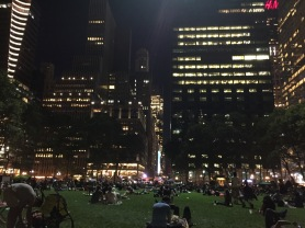 Listening to Live Music in Bryant Park.