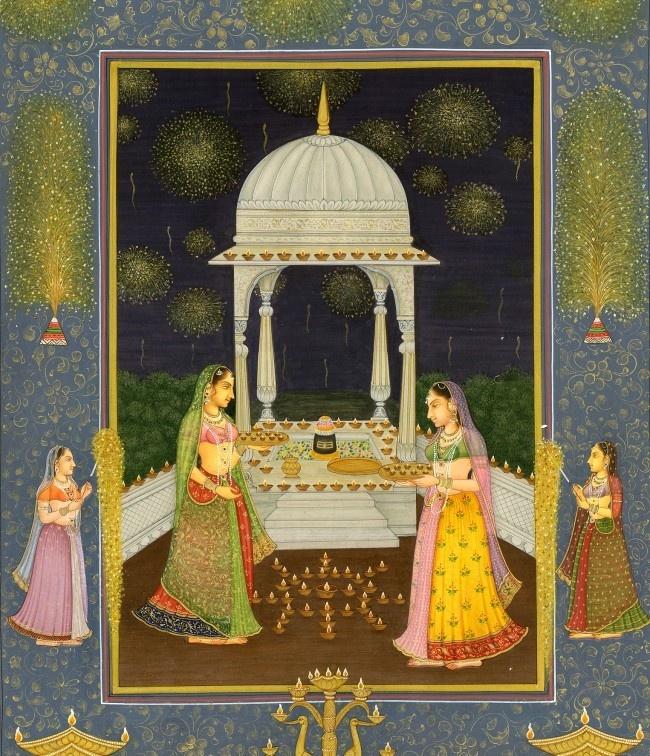Mughal Diwali Scene with Deeyas