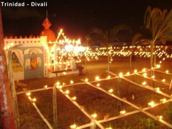 Diwali Bamboo displays in Trinidad.
