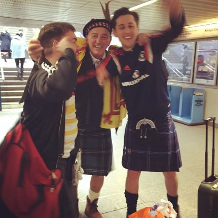 Scottish Football Fans at King's Cross Station.