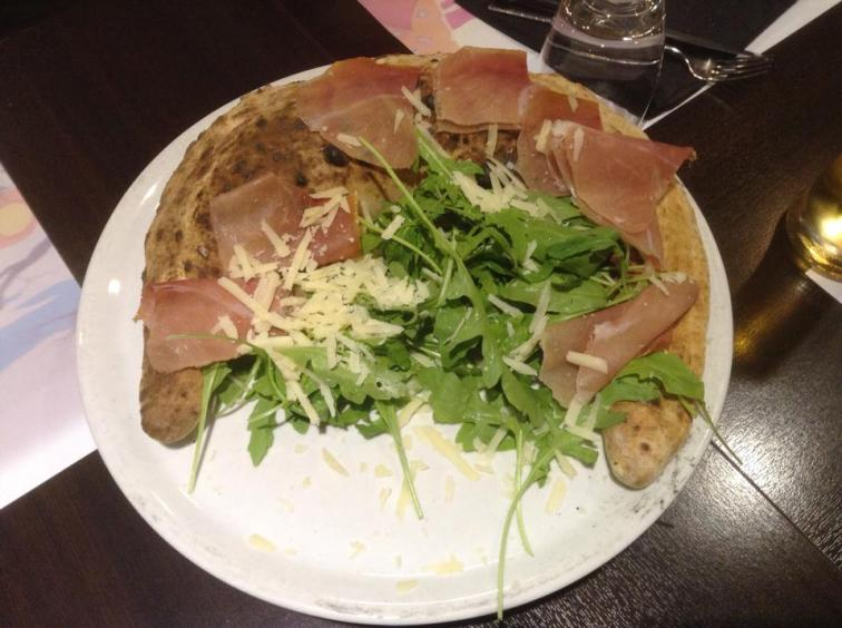 Calzone with Proscuito and Rocket Salad, Italy.